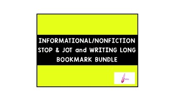 Informational Stop and Jot/Writing Long Bookmark Card (Great for Lucy Calkins)
