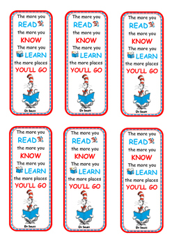 Bookmark - Dr Seuss reading quote