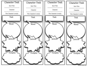 Bookmark Graphic Organizers-Scaffolding Character Traits