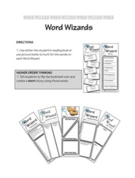 Bookmark Graphic Organizers-WORD WORKS