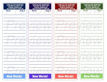 Bookmark- New Words
