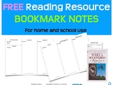 Bookmark Notes | Reading Strategy | Distance Learning Home