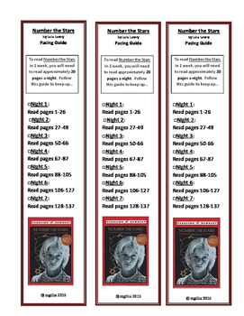 Bookmark Pacing Guide: Number the Stars by Lois Lowry