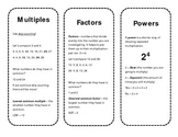Bookmark References for Multiples, Factors, and Powers