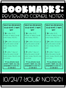 Bookmarks:  Reviewing Cornell Notes