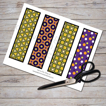 Bookmark Set, Halloween Patterns 1