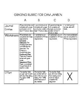 Bookmark for Cam Jansen books
