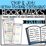 Reading Strategies | Think Marks | Stop & Jot Bookmark - FREEBIE
