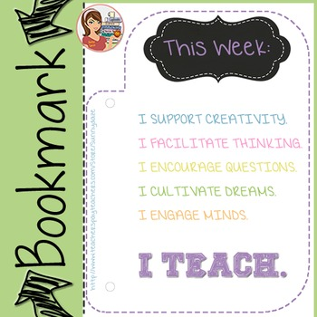 "Bookmark for Teachers (""I Teach"")"