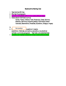 Bookmark for marking text