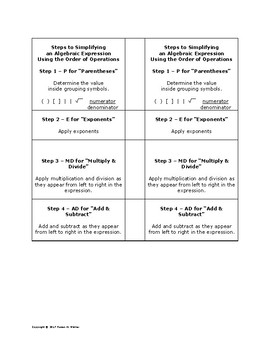 Bookmark of steps to solving multi-step equations and orde