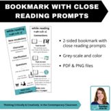 Bookmark with Close Reading Prompts - ELA