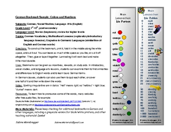 Bookmark with German Numbers and Colors (FREE!)