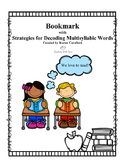 Bookmark with Strategies for Decoding Multisyllabic Words
