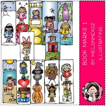 Melonheadz: Bookmarks clip art Part 1 - Girls - COMBO PACK