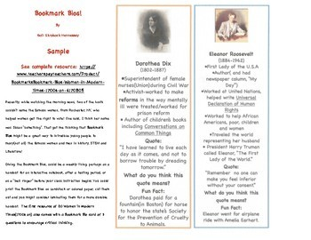Bookmarks! Bookmark Bios(Learn about famous people with these bookmarks!)