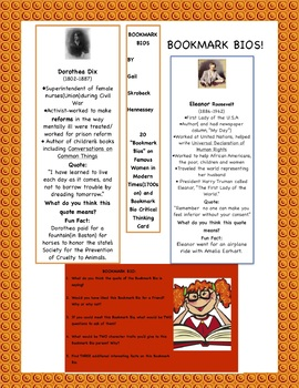 Bookmarks(Bookmark Bios): Women in Modern Times, 1700s on