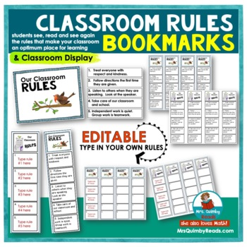 Bookmarks | Classroom Rules | Editable | Teaching Citizenship