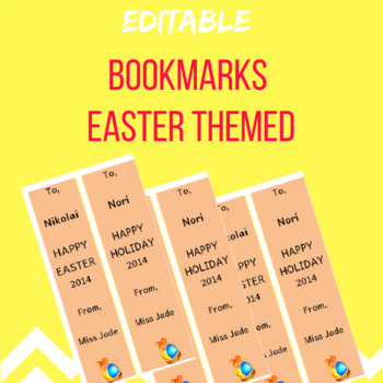 Bookmarks Easter Themed EDITABLE