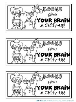 Bookmarks to Color : Western Theme Cowboy & Cowgirl