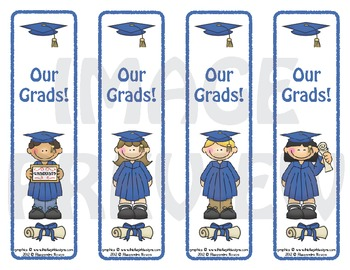 Bookmarks: Graduates Blue Cap and Gown