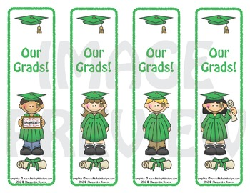 Bookmarks: Graduates Green Cap and Gown