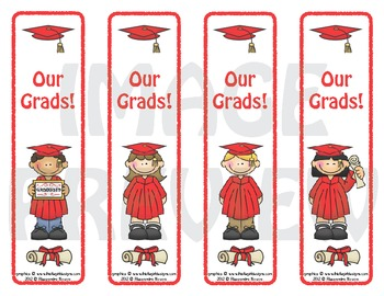 Bookmarks: Graduates Red Cap and Gown