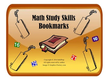Math Study Skills Bookmarks