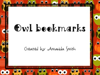 Bookmarks: Owl Themed