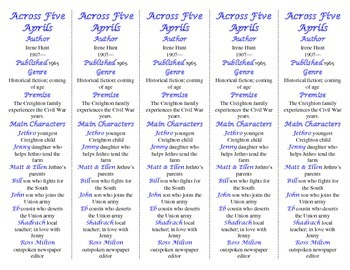 Across Five Aprils edition of Bookmarks Plus—Fun Freebie & Handy Reading Aid!