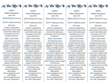 As You Like It edition of Bookmarks Plus—A Handy Little Reading Aid!