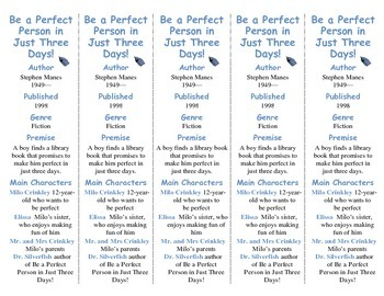 Be a Perfect Person in Just 3 Days edition of Bookmarks Plus—Handy Reading Aid!