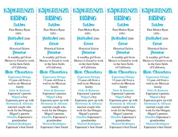 Esperanza Rising edition of Bookmarks Plus—A Handy Reading Aid!