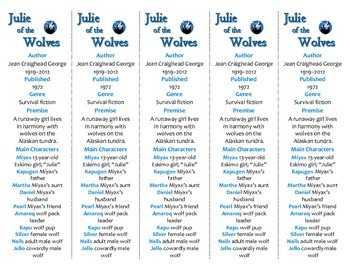 Julie of the Wolves edition of Bookmarks Plus—Fun Freebie & Handy Reading Aid!