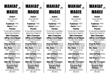 Maniac Magee edition of Bookmarks Plus—Fun Freebie & Handy Reading Aid!
