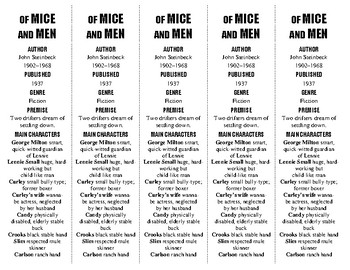 Of Mice and Men edition of Bookmarks Plus—Fun Freebie & Handy Reading Aid!
