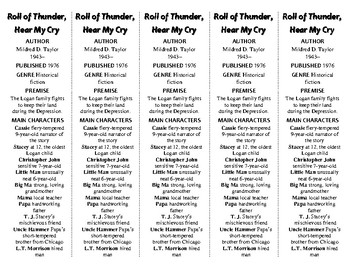 Roll of Thunder, Hear My Cry ed. of Bookmarks Plus—Fun Freebie/Handy Reading Aid