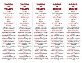 Romeo and Juliet edition of Bookmarks Plus—Fun Freebie & Handy Reading Aid!