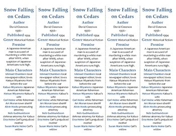 Snow Falling on Cedars edition of Bookmarks Plus—A Handy Little Reading Aid!