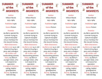 Summer of the Monkeys edition of Bookmarks Plus—Fun Freebie & Handy Reading Aid!