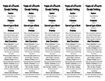Tales of a Fourth Grade Nothing ed. of Bookmarks Plus—Handy Reading Aid!