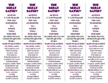 The Great Gatsby ed. of Bookmarks Plus—Fun Freebie & Handy Reading Aid!