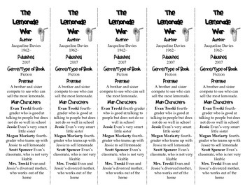 The Lemonade War edition of Bookmarks Plus—Fun Freebie & Handy Reading Aid!
