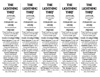 The Lightning Thief edition of Bookmarks Plus—A Handy Little Reading Aid!