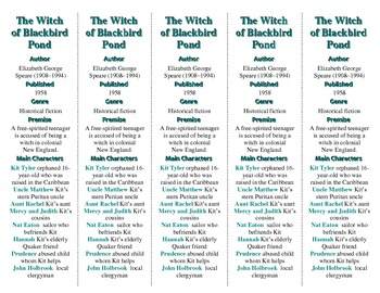 The Witch of Blackbird Pond ed. of Bookmarks Plus—Fun Freebie/Handy Reading Aid!