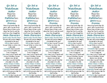Bookmarks Plus edition of Go Set a Watchman: Fun Freebie/Handy Reading Aid!