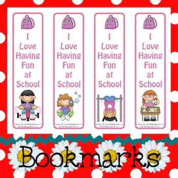 Bookmarks: School Fun Girls