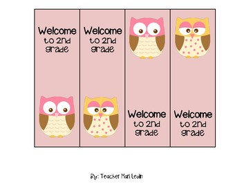 Bookmarks Welcome to 2nd grade