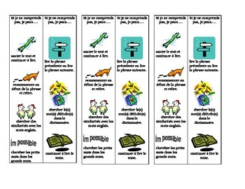 Bookmarks and reading strategies for the French student