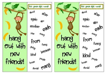 Bookmarks for Grades 1, 2, and 3